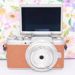 キヤノン(Canon)のレンズ新品 WI-FIつき Panasonic lumix GF7 ブラウン(ミラーレス一眼)