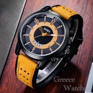 腕時計 ツートン アナログ メンズ クォーツ 時計 高品質 レザー イエロー(腕時計(アナログ))