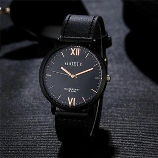 腕時計 ギリシャ文字 メンズ クォーツ腕時計 高品質 ファッション時計 ブラック(腕時計(アナログ))