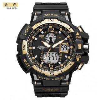 新品送料無料メンズ腕時計デジタル多機能メンズLEDブラック×ゴールド(腕時計(アナログ))