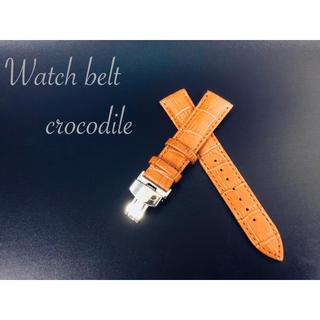 時計ベルト 時計バンド Dバックル カーフ革 クロコダイル型押し20mm 茶色(レザーベルト)