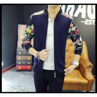 ネイビー ジャケット MA-1 花柄 ブルゾン アウター メンズ 紺色(Tシャツ/カットソー(七分/長袖))