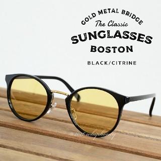 黒縁ボストン眼鏡 コンビネーションフレームメガネライトイエロー(サングラス/メガネ)