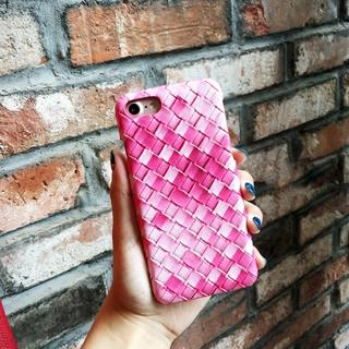 ピンク お洒落 編み込み風 iPhone6 iPhone6s ハードケース(iPhoneケース)