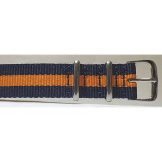 18MM NATO ミリタリー ナイロンベルト新品 ブルー&オレンジ コンビ(その他)