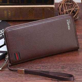KU082 送料無料♪大人の長財布 メンズ イタリアデザイン ストラップ付 茶(長財布)