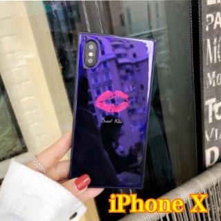 ⭐️年末SALE⭐️【リップ柄1つ スクエア型ケース】ブルーiPhoneX(iPhoneケース)