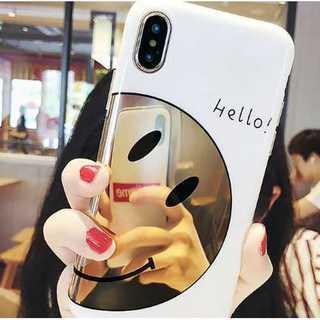 iphoneケース ミラー スマイリー柄 白 鏡 個性的 可愛い 薄型 軽量(iPhoneケース)