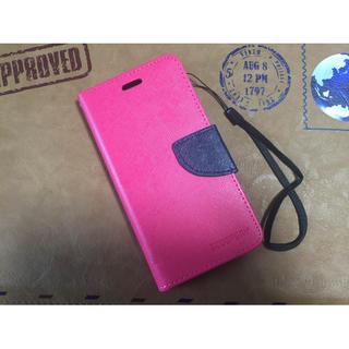 ショッキングピンク♪ネイビー♪iPhone6♪スマホケース♪派手♪手帳型♪可愛い(iPhoneケース)