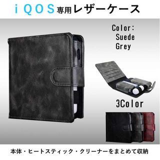 ☆まとめて収納☆ IQOS アイコスケース 手帳型 ショート グレー(タバコグッズ)