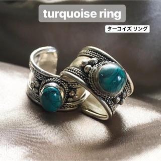 インディアンジュエリー ナバホ メンズ ターコイズ バングル リング 指輪(リング(指輪))