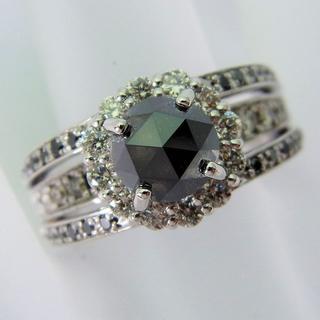 K18WG ブラックダイヤモンド リング 12号 [f384-9] (リング(指輪))