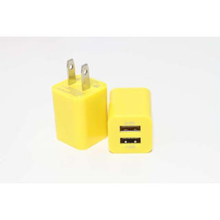 iPhone Android USB コンセント 2口充電  充電器 レモン(バッテリー/充電器)