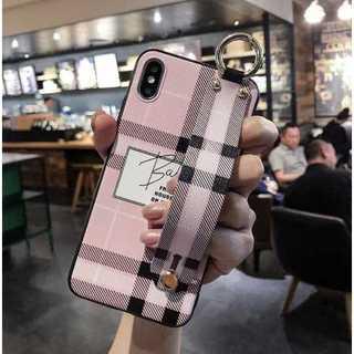 iPhone6/6s/7/8ケース チェック柄 ベルト付き 韓国風 ピンク(iPhoneケース)