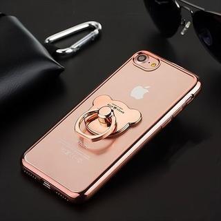 リング付 クマ ベア X/XSiPhone8ケース アイフォン(iPhoneケース)