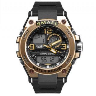【新品送料無料】 多機能メンズ腕時計防水 ミリタリー ブラック×ゴールドB(腕時計(アナログ))
