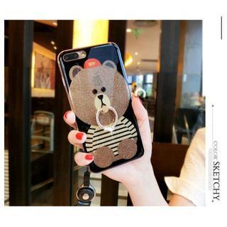 iPhone7 Teddy Bear クマさん ソフトシリコンゴム 指リング付き(iPhoneケース)