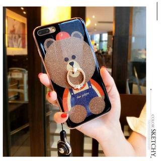 iPhone 7 ケース Teddy Bear ソフトシリコンゴム 指リング付き(iPhoneケース)