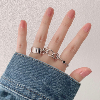 【Lulu Mina】stone chain ring[black]
