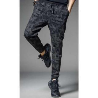メンズ 迷彩 ジョガーパンツ 9分丈 スウェット ブラック カモフラ XXL(チノパン)