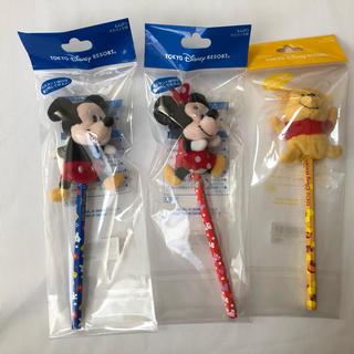 ディズニー(Disney)の☆ディズニーランド  マスコット付きえんぴつ☆(キャラクターグッズ)