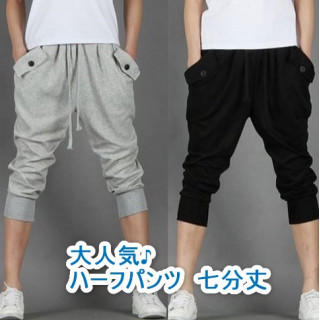 定番 メンズ スウェット パンツ 七分丈  ハーフパンツ レディース XXL 黒(ショートパンツ)
