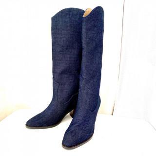 リリーブラウン(Lily Brown)の新品 デニムブーツ M 23.5cm ネイビー(ブーツ)