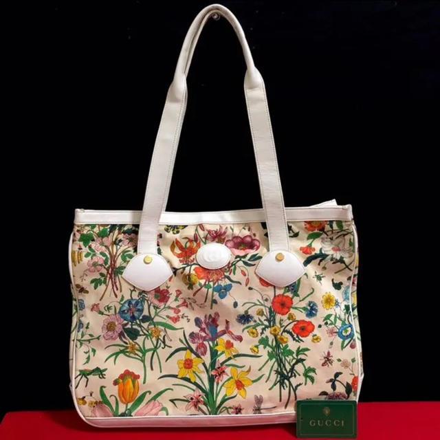 Gucci(グッチ)の☆ レア 可愛い グッチ オールドグッチ フローラ  トートバッグ ハンドバッグ レディースのバッグ(トートバッグ)の商品写真