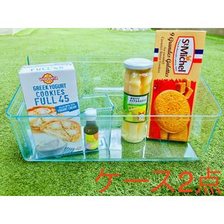 【送料無料】アクリル ケース 大・小 2点セット クリアブルー 雑貨 食品保管庫(キッチン収納)
