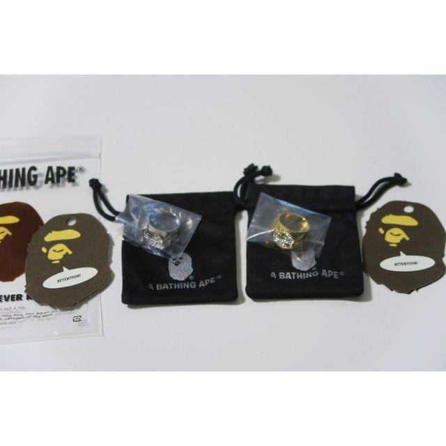 A BATHING APE(アベイシングエイプ)のGOLD BAPE RHINESTONE APE HEAD RING メンズのアクセサリー(その他)の商品写真
