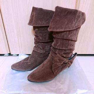 チヨダ(Chiyoda)のchiyoda リボン ブーツ ブラウン Lサイズ(ブーツ)