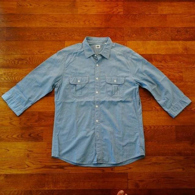 UNIQLO(ユニクロ)のユニクロ ドット ブルー シャツ 七分 XL メンズのトップス(シャツ)の商品写真