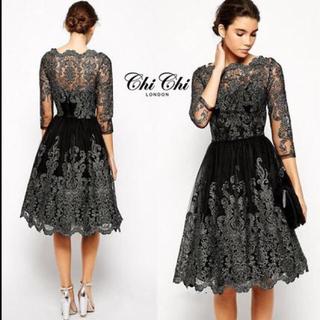 チチロンドン(Chi Chi London)のchi chi london スカラップヘムドレス(ミディアムドレス)