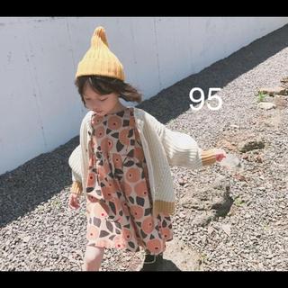 【新品】コットン 花柄ワンピース 95  100  (ワンピース)