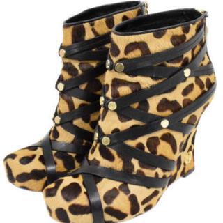 ヴィヴィアンウエストウッド(Vivienne Westwood)のHouse Of Harlow 1960  豹柄 ハラコ ウェッジソール ブーツ(ブーツ)