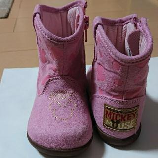 ディズニー(Disney)のミッキー子供用ブーツピンク14cm(ブーツ)