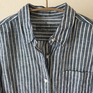 ムジルシリョウヒン(MUJI (無印良品))の無印良品 リネンストライプシャツ ブルー Sサイズ(シャツ/ブラウス(長袖/七分))
