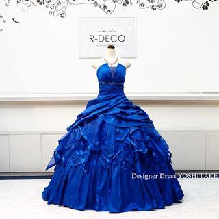 ウエディングドレス ロイヤルブルータフタ/オーガンジードレス ブライダル披露宴/(ウェディングドレス)