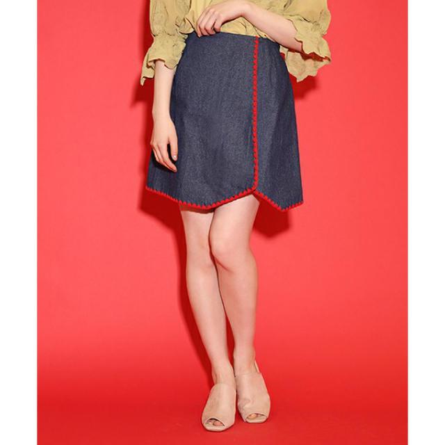 one after another NICE CLAUP(ワンアフターアナザーナイスクラップ)の新品ナイスクラップ★ライン刺繍スカート レディースのスカート(ミニスカート)の商品写真