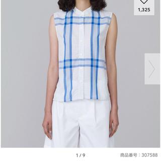 ジーユー(GU)の白 青 S GU×KIM JONES チェックバンドカラーシャツ ノースリーブ(シャツ/ブラウス(半袖/袖なし))