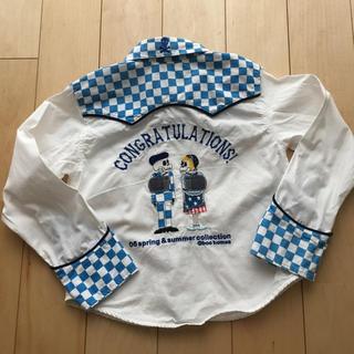 スーパーブーホームズ(SUPER BOO HOMES)のused♪BOO HOMES ガイコツ入学ウエスタンシャツ♪刺繍120cm(ブラウス)