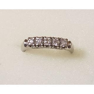 Pt800 ダイヤモンド  一文字リング 9号 造幣局のホールマーク刻印(リング(指輪))
