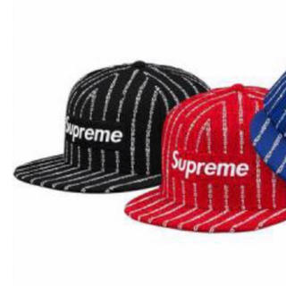 supreme text stripe new era 黒 M(キャップ)