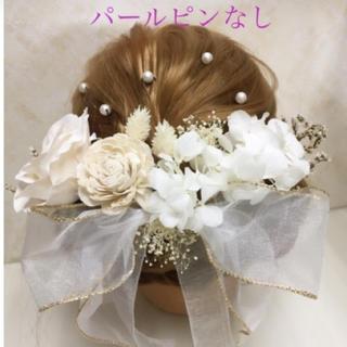 チュールリボン 髪飾り 一度使用のみ☆(ヘッドドレス/ドレス)