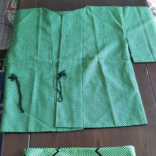 羽織りと帯のセット 【送料無料】グリーン系  衣装やイベント・コスプレなど (衣装一式)