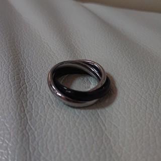 3連リング シルバー×ブラック(リング(指輪))
