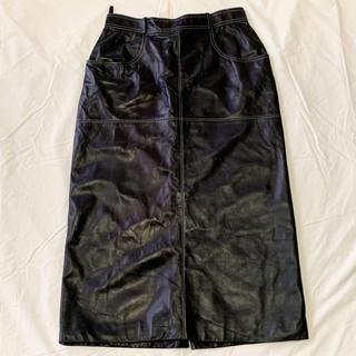 エルメス(Hermes)のHERMES エルメス スカート ラム レザー 革 ブラック 黒 42(ロングスカート)
