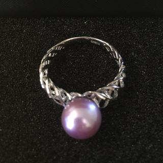新品 K18WG アコヤ真珠 ラベンダーカラー(トリート) リング 指輪(リング(指輪))