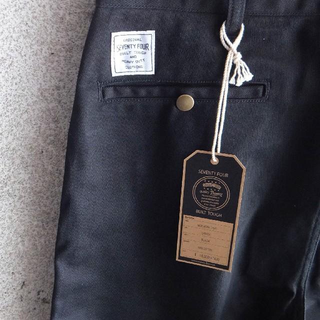 SEVENTY FOUR(セブンティーフォー)のセール中●新作●セブンティーフォー ワイドワークパンツ L 新品 ブラック メンズのパンツ(ワークパンツ/カーゴパンツ)の商品写真