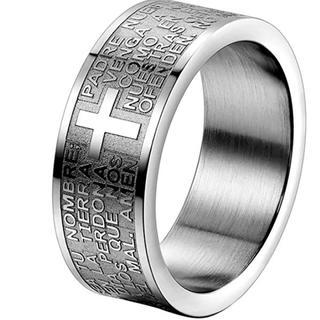 ステンレス 指輪 リング 聖書 祈り 十字架 米国サイズ 9号(リング(指輪))